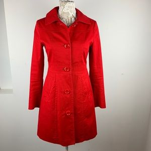 H&M US 6 Tomato Red Trench Coat Polkadot Lining